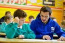 Everton defender Leighton Baines encourages children to discuss mental health