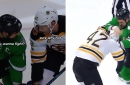 Jamie Benn and David Backes turned an opening NHL puck drop into a fight