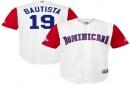 Men's Dominican Republic Baseball Jose Bautista Majestic White 2017 World Baseball Classic Replica Jersey