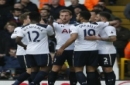 Tottenham Hotspur's Harry Kane, center, celebrates after scoring the opening goal of the game during the English Premier League soccer match between Tottenham Hotspur and Everton at White Hart Lane in London, Sunday, March 5, 2017. (AP Photo/Alastair