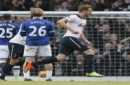 Tottenham Hotspur's Harry Kane celebrates after scoring the opening goal of the game during the English Premier League soccer match between Tottenham Hotspur and Everton at White Hart Lane in London, Sunday, March 5, 2017. (AP Photo/Alastair Grant)