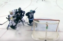 Jets' Dustin Byfuglien takes out three players with one body check