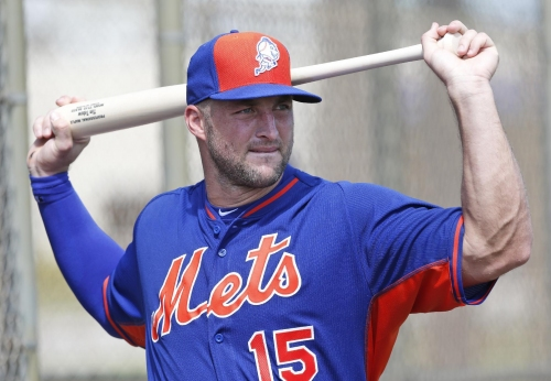 Hey, Rookie! Mets' Tebow takes practice swings on wrong side The Associated Press