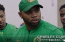WATCH: Oregon CB Coach Charles Clark runs players through drills, does backflip