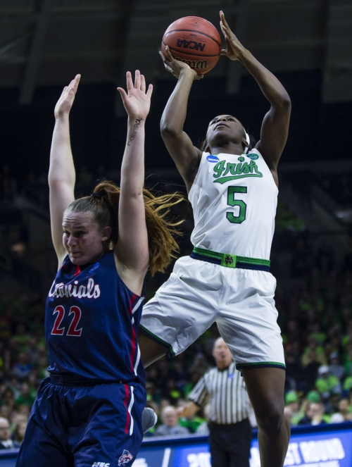Notre Dame women have too much firepower for Robert Morris in NCAA opener
