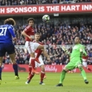 Manchester United's Marouane Fellaini, left, scores his side's first goal of the game during their English Premier League soccer match against Middlesbrough at the Riverside Stadium, Middlesbrough, England, Sunday, March 19, 2017. (Nigel French/PA