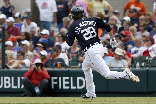 Tigers' J.D. Martinez leaves spring training game with right ankle injury