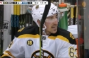 Notorious trash talker Brad Marchand trolls Leafs player from the bench