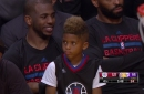 Chris Paul's son is sitting on the bench because the Clippers are winning by a zillion points
