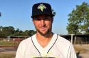 A few questions about the first photo of Tim Tebow in his minor league jersey