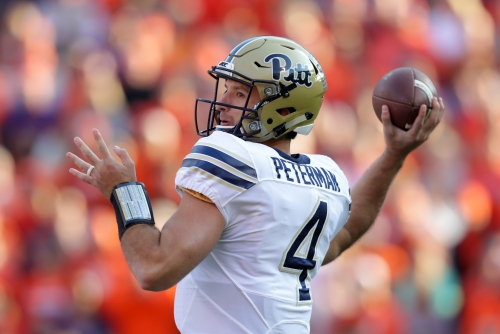 Steelers OC Todd Haley checking out Pitt QB Nathan Peterman at pro day