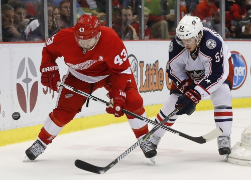 Darren Helm returns to Red Wings practice; goalie rotation continues