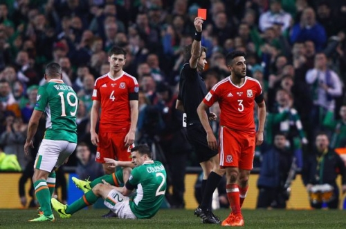 Aston Villa defender sent off in Republic of Ireland v Wales World Cup qualifier