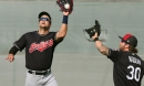 Cleveland Indians' Lonnie Chisenhall collides with outfield wall; leaves with injured shoulder