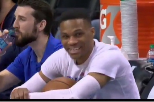 Russell Westbrook dancing on the bench before OKC games is the purest joy