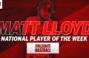 Matt Lloyd is good at baseball, wins National Player of the Week