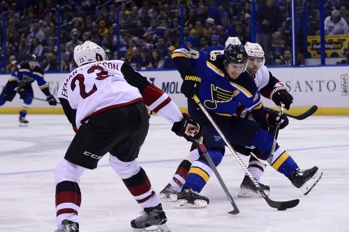 Clayton Keller debuts in hometown as Arizona Coyotes are defeated by St. Louis Blues