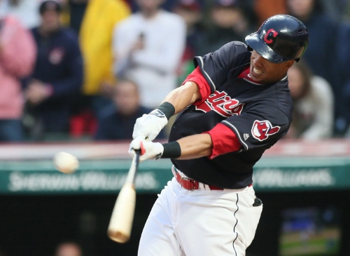 Michael Brantley hits his first home run for the Indians since 2015