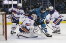 Sputtering offense, late mistake costs Sharks in Game 3 loss to Oilers