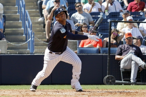 Gleyber Torres scratched from Thunder lineup with sore shoulder
