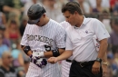 Carlos González exits Rockies game after being hit by pitch