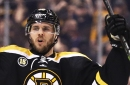 David Krejci injured on a Knee-to-Knee hit from Wideman