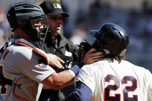 Miguel Sano was totally justified in shoving James McCann