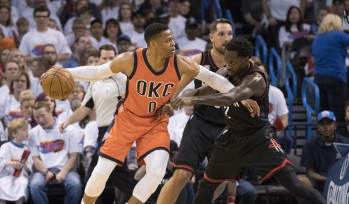 Westbrook clinches triple-double in first half vs. Rockets The Associated Press