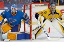 Blues-Predators features goalie showdown of Allen vs. Rinne