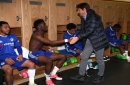 Antonio Conte enters Chelsea Under-18's dressing room to give a victory speech after FA Youth Cup success