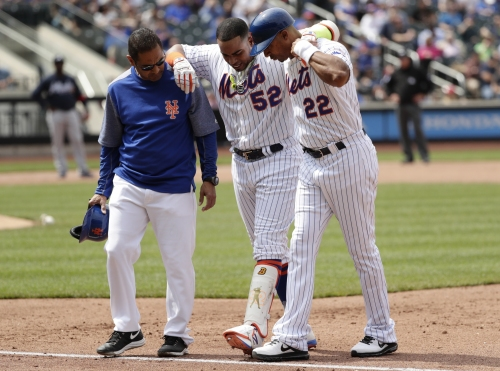 Yoenis Cespedes exits Mets - Braves after re-injuring hamstring