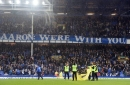 Everton fans' banner shows support for Aaron Lennon
