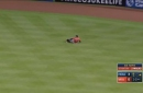 WATCH: Astros' Springer slips trying to make play on Stanton liner