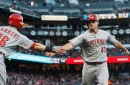 Reds offense climbs back late, defeat the Rockies 12-8 to halt losing streak