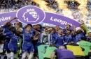 Chelsea captain John Terry, right, and Gary Cahill raise the trophy after they won the league, following the English Premier League soccer match between Chelsea and Sunderland at Stamford Bridge stadium in London, Sunday, May 21, 2017. (AP Photo/Frank Aug