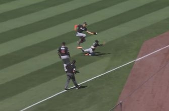WATCH: Stanton avoids colliding with Gordon to make acrobatic catch