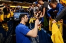 Zaza Pachulia was unable to fit into a Warriors' conference title hat