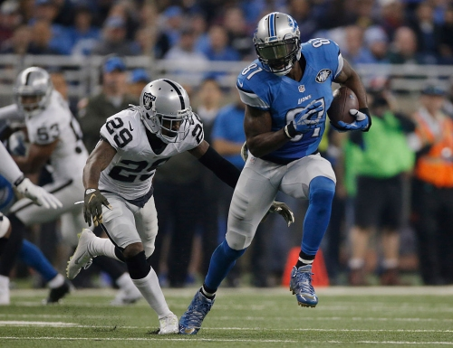 What was Calvin Johnson doing at the Raiders practice?