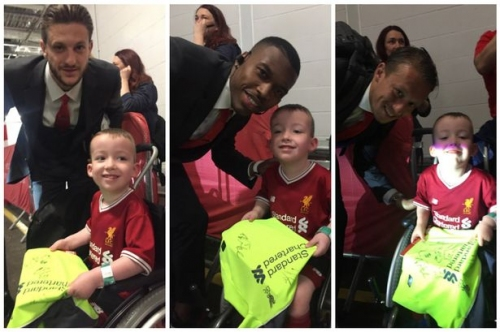 Disabled young Liverpool fan enjoys perfect end to Anfield's season by meeting his heroes