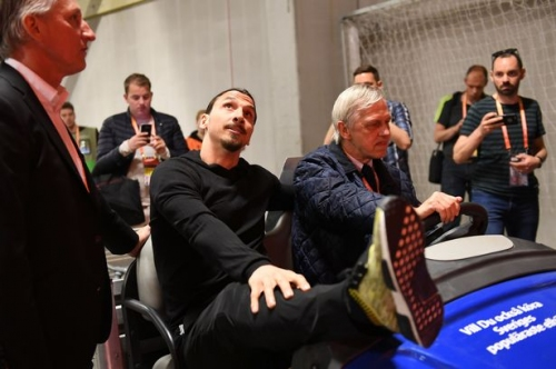 Manchester United striker Zlatan Ibrahimovic attends Europa League final vs Ajax