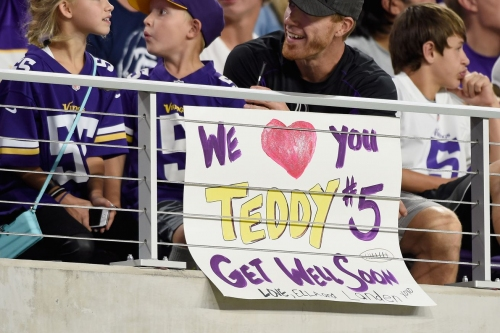 Hey Teddy! Don't Ya Wanna Come Out For Vikings OTAs?