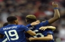 United's Paul Pogba raises his arm celebrating after scoring the opening goal during the soccer Europa League final between Ajax Amsterdam and Manchester United at the Friends Arena in Stockholm, Sweden, Wednesday, May 24, 2017. (AP Photo/Martin Meiss