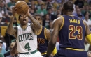 Isaiah Thomas attending Game 5 between Boston Celtics and Cleveland Cavaliers