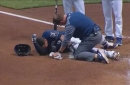 WATCH: Brewers' Pina day-to-day after being hit by pitch