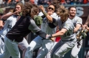 Michael Morse suffered a concussion after colliding with Jeff Samardzija during Harper-Strickland brawl