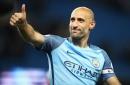 Pablo Zabaleta reacts to early Man City reunion