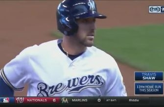 WATCH: Brewers' Shaw homers off top of wall
