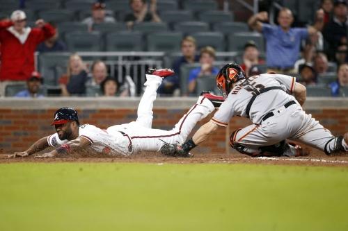 Braves score eight in fifth inning, avoid utter implosion to squeak past Giants