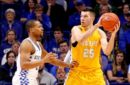 Valparaiso's Alec Peters is overwhelmed when he's taken in NBA Draft