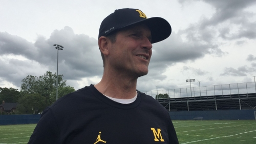 Michigan's Jim Harbaugh glad to let elite athletes play two sports in college